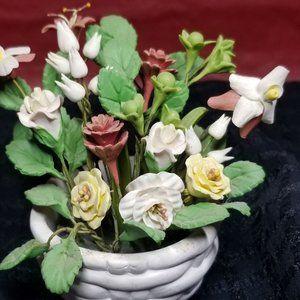 Miniature Clay Planter & Flowering Plant